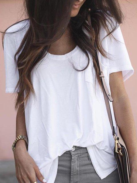 Women Summer  Pocket Tee Solid T Shirts