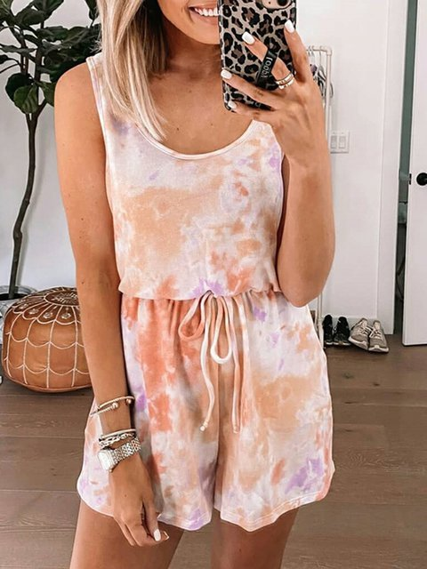 Pink Sleeveless Ombre/tie-Dye Romber