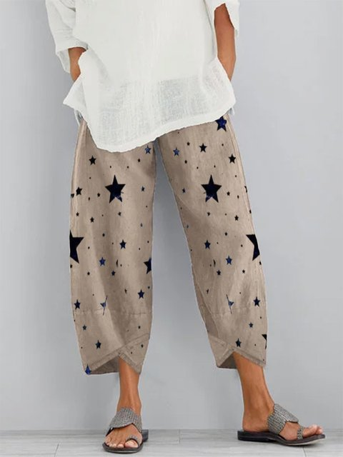 As Picture Cotton-Blend Printed Casual Pants