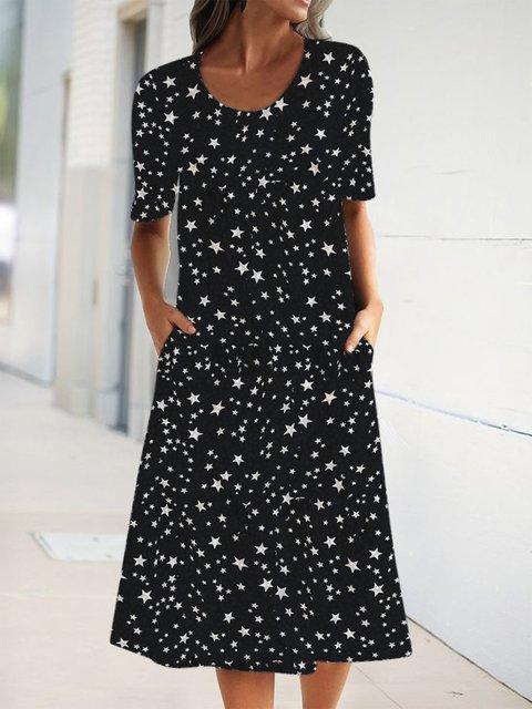 Summer Pockets Midi Dress Printed Short Sleeve Dresses