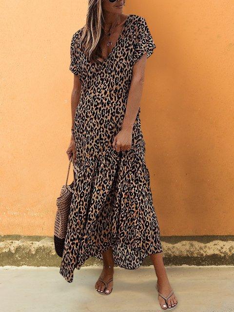 Summer Leopard Maxi Dress Short Sleeve V Neck Dresses