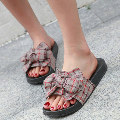 Summer Bowknot Flat Heel Cloth Slippers