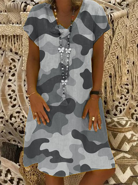 Green Short Sleeve Cotton V Neck Casual Dresses