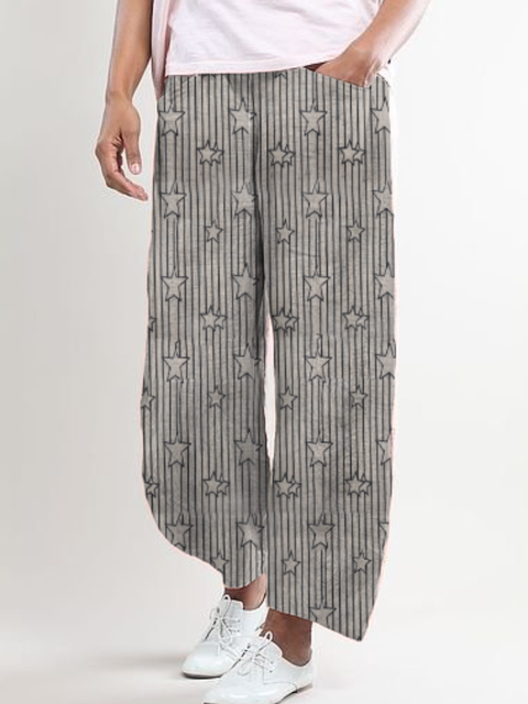 Plus size Star Casual Stripes Pants