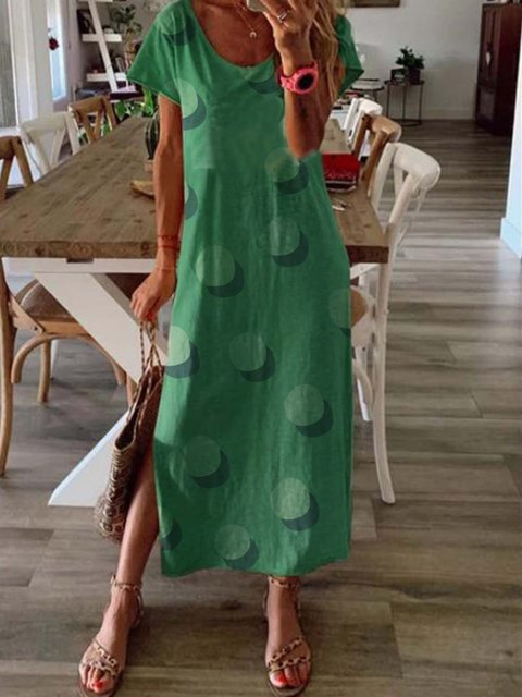 Green Polka Dots Short Sleeve Round Neck Dresses