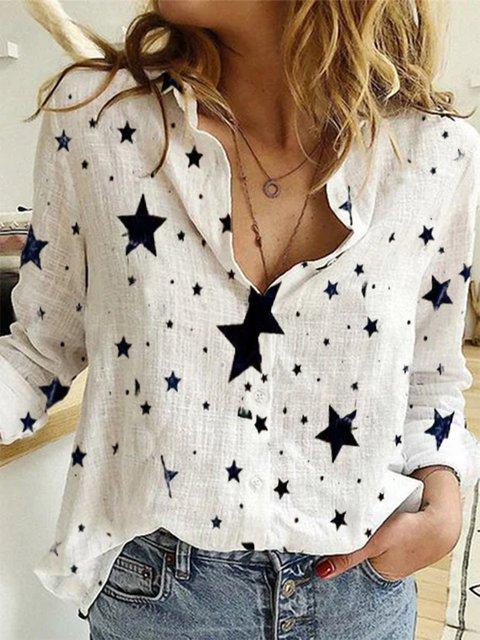 White Printed Casual Long Sleeve Shirts & Tops