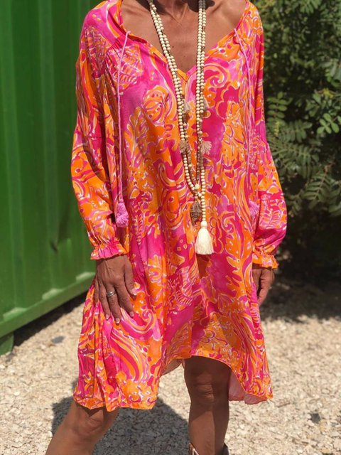 Red Cotton-Blend Floral Casual Floral-Print Dresses