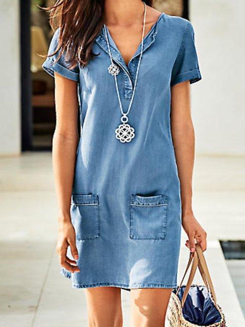 Blue Denim Short Sleeve Plain V Neck Dresses