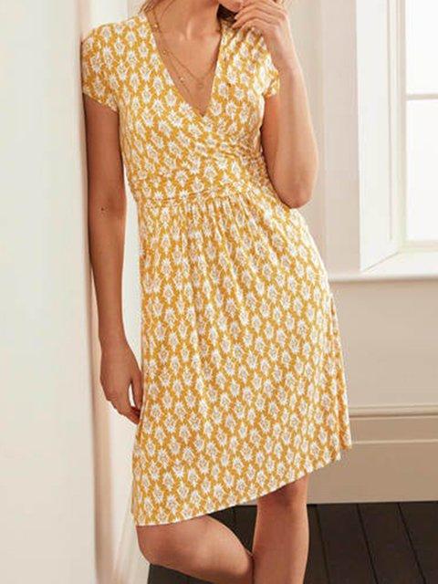 Yellow Geometric Casual Dresses