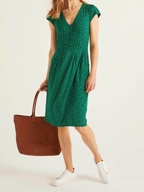 Green Polka Dots Casual V Neck Cotton-Blend Dresses