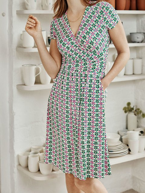 Green Printed Cotton-Blend Short Sleeve Geometric Dresses