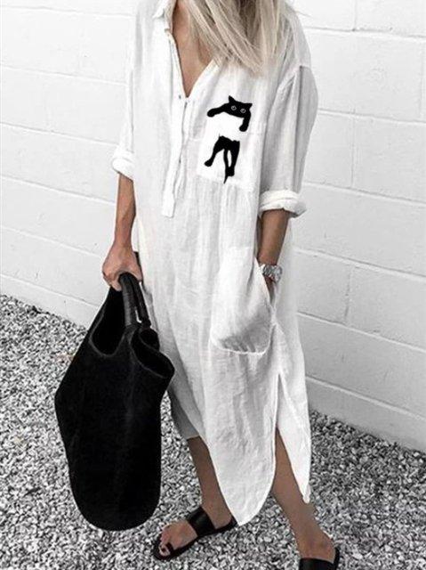 Cats Print Pockets Cotton-blend Dresses