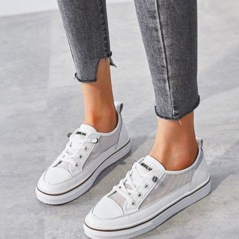 White Mesh Lace-Up Flat Heel Sneakers