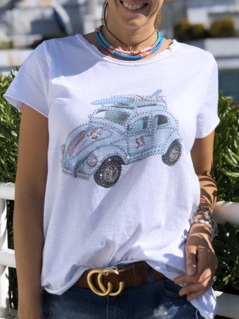 Women Car-Print Casual Summer Tees