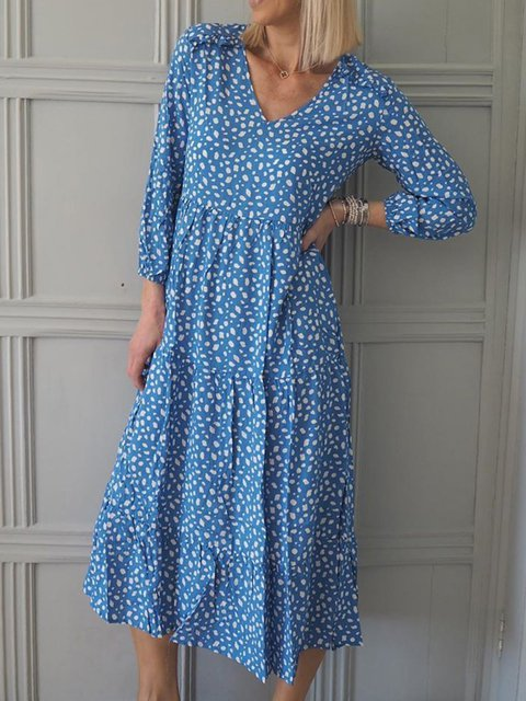 Women V-Neck Printed Casual Midi Dresses