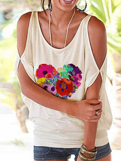 Women Floral Heart Cold Shoulder Casual T-Shirts