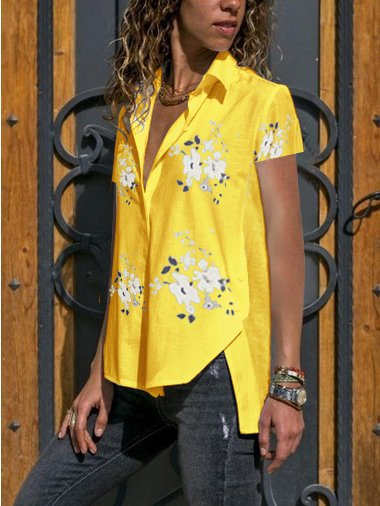 Short Sleeve Casual Floral Cotton-Blend Shirts & Tops