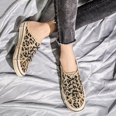 Leopardb Women Slide Backless Canvas Flat Heel Summer Casual Sneakers