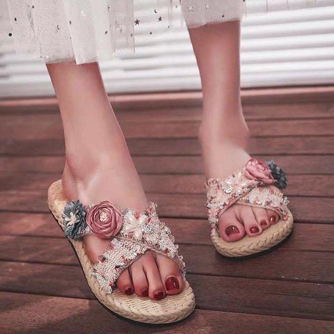 Flower Artificial Suede Flat Heel Espadrille Slippers