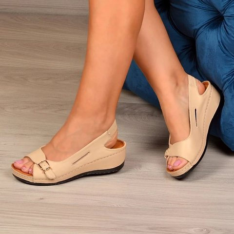 Summer Elastic Band Artificial Leather Holiday Sandals