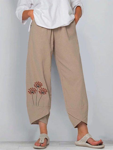 Khaki Floral Linen Pants