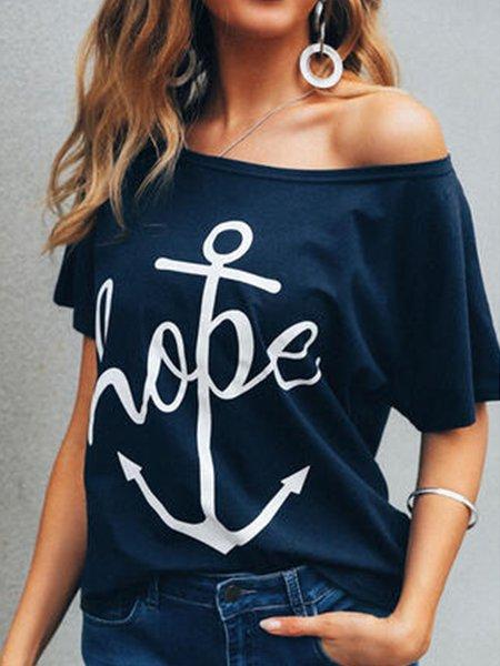 Deep Blue Solid Casual Short Sleeve Shirts & Tops