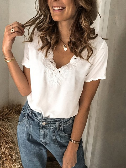 Cotton-Blend V Neck Short Sleeve Casual Shirts & Tops