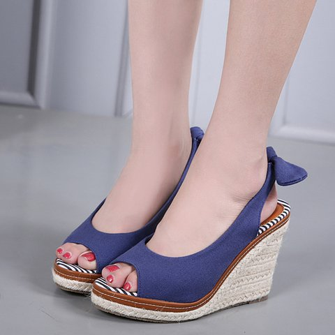 Women Slide Peep Toe Fall Wedge Heel Cloth Sandals