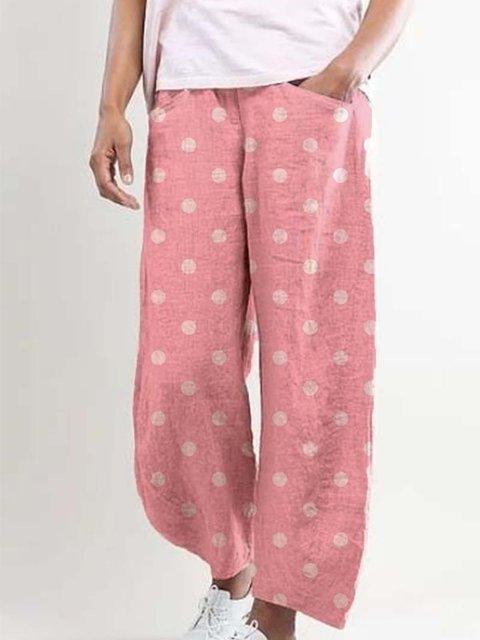 Pink Pockets Polka Dots Simple Pants