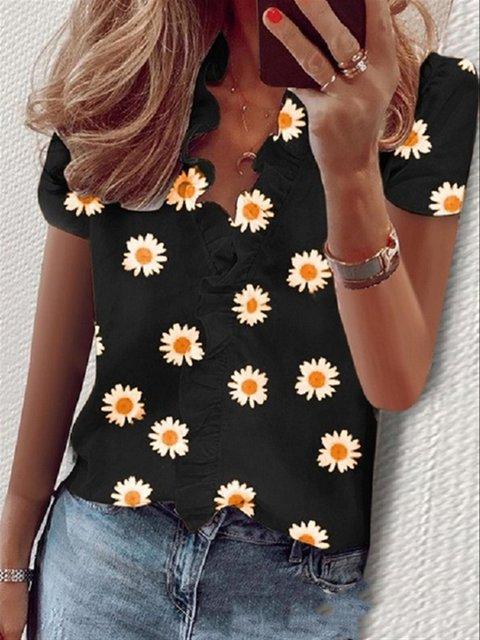Short Sleeve Floral Shirts & Tops