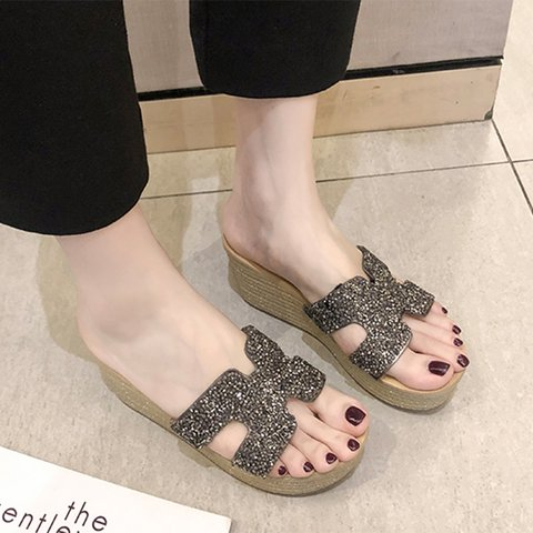 Women PU Slide Rhinestone Daily Wedge Heel Slippers
