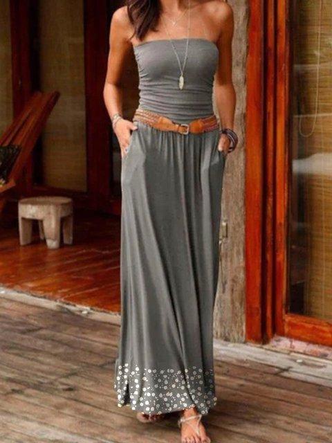 Womens Summer Strapless Boho Plain Dresses
