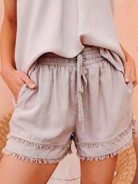 Paneled Casual Cotton Plain Pants