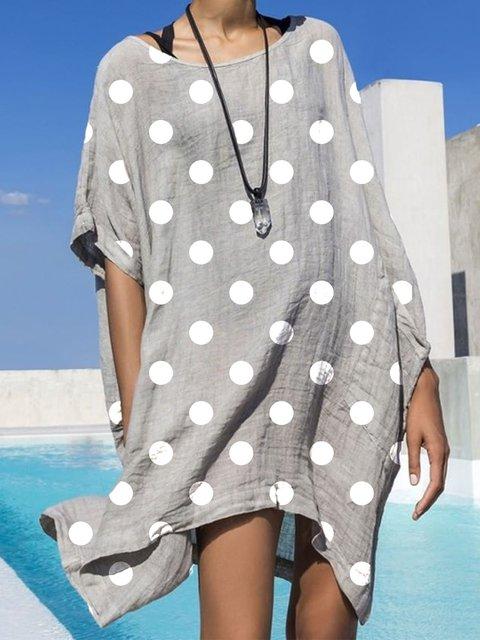 Gray Short Sleeve Casual Polka Dots Dresses