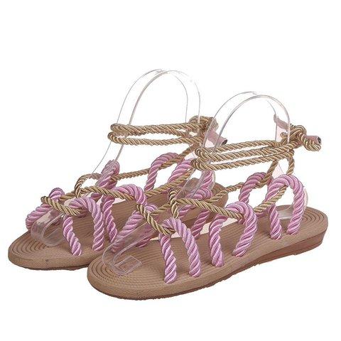 Women Lace up Flat Heel Pu Summer Sandals