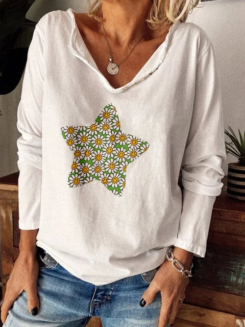 Casual Plus Size Long Sleeve Printed Shirts Tops