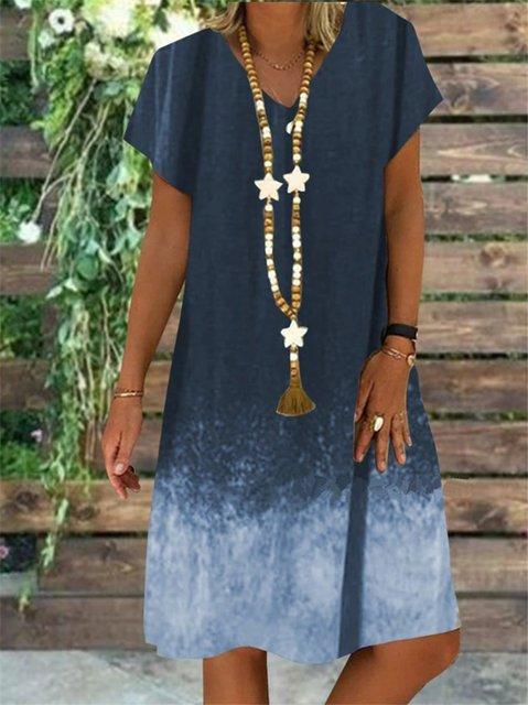 Short Sleeve Holiday V Neck Dresses