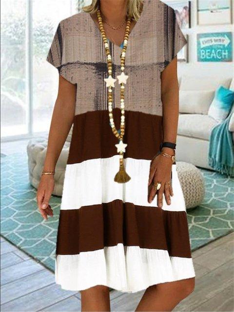 Short Sleeve V Neck Striped Dresses