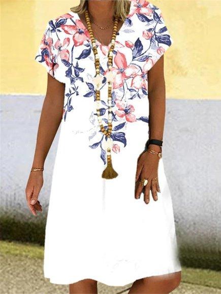V Neck Short Sleeve Floral-Print Dresses