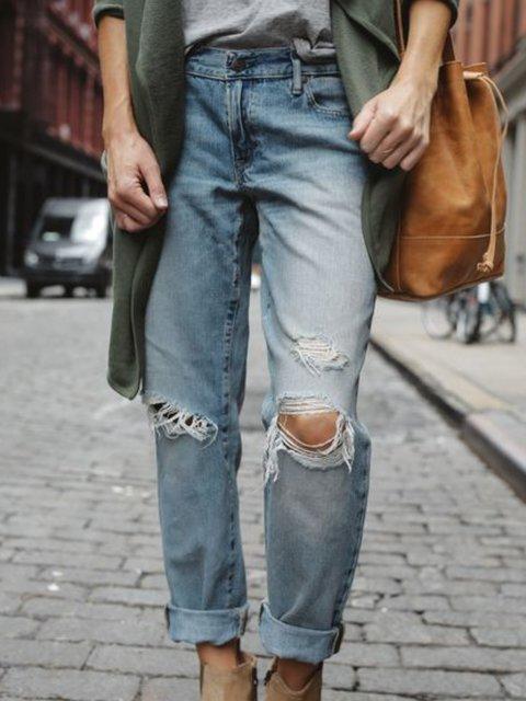 Blue Pockets Casual Pants