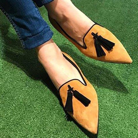 Low Heel Tassel Slip On All Season Sandals