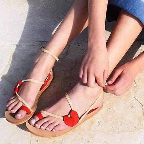 Artificial Suede Flip-flops Color Block Adjustable Buckle Sandals