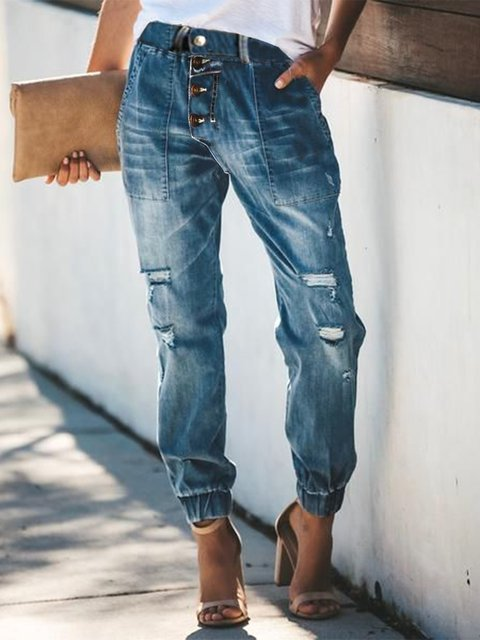 Casual retro breasted denim trousers