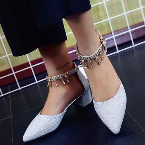 Summer Artificial Leather Chunky Heel Tassel Rhinestone Sandals