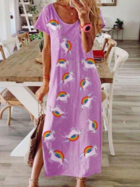 Women Cute Horse Print Casual Maxi Dresses