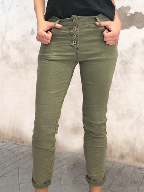 Single-breasted retro simple casual pants