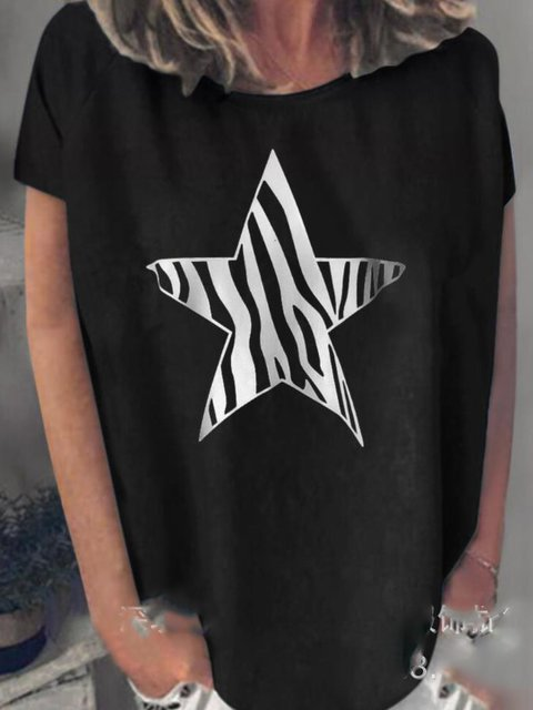 Star Short Sleeve Crew Neck Shirts & Tops