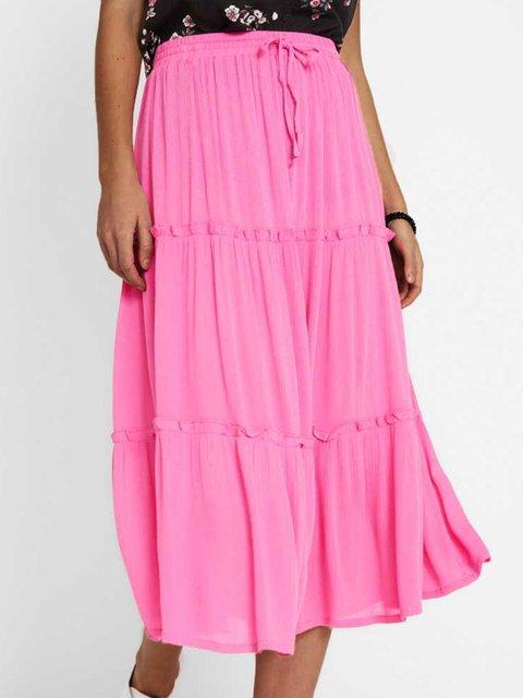 Casual plain skirt stitching skirt