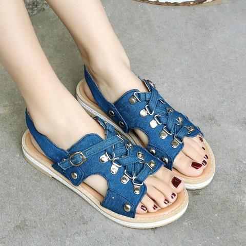 Women Peep Toe Buckle Canvas Low Heel Sandals