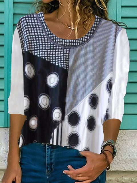 White Long Sleeve Polka Dots Cotton Shirts & Tops